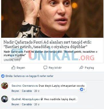 """Nadirin iradına xalq artistindən CAVAB: """"Sən xalqı təhqir et, sonra…"""""""