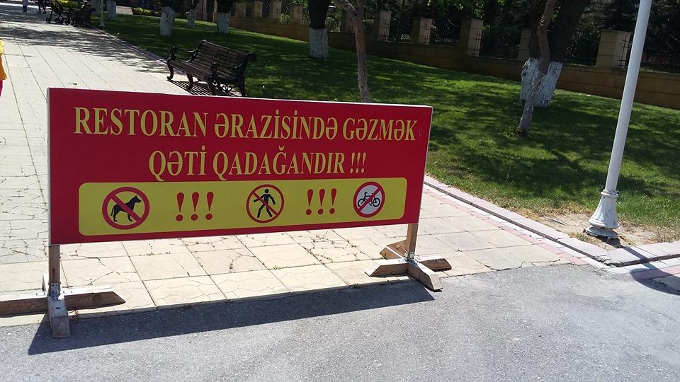 Biləcəridə harın əməl- restoran müdiri əhaliyə parkda gəzməyi qadağan etdi+FOTO